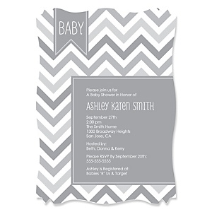 Chevron Gray - Personalized Baby Shower Invitations