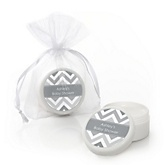 Chevron Gray - Personalized Baby Shower Lip Balm Favors
