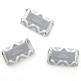 Gray Chevron - Personalized Baby Shower Mini Candy Bar Wrapper Favors - 20 ct