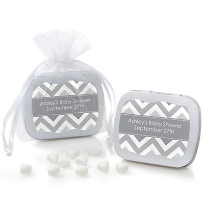 Gray Chevron - Mint Tin Personalized Baby Shower Favors...