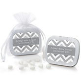 Gray Chevron - Mint Tin Personalized Baby Shower Favors