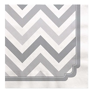 Gray Chevron - Baby Shower Luncheon Napkins - 16 Pack