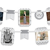 Gray Chevron - Baby Shower Photo Bunting Banner