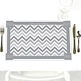 Gray Chevron - Personalized Baby Shower Placemats