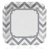 Chevron Gray - Baby Shower Dinner Plates - 8 ct