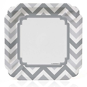 Gray Chevron - Baby Shower Dinner Plates - 8 Pack
