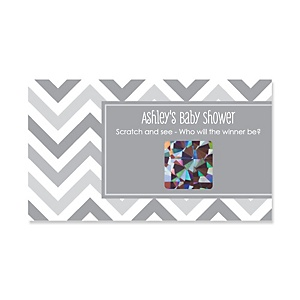 Chevron Gray - Personalized Baby Shower Game Scratch Off Cards - 22 ct