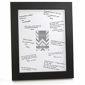 Gray Chevron - Personalized Baby Shower Print with Signature Mat