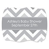 Chevron Gray - Personalized Baby Shower Squiggle Stickers - 16 ct