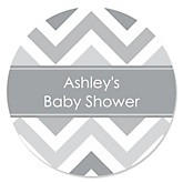 Gray Chevron - Personalized Baby Shower Round Sticker Labels - 24 Count
