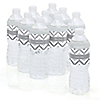 Chevron Gray - Personalized Baby Shower Water Bottle Label Favors