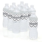 Gray Chevron - Personalized Baby Shower Water Bottle Labels