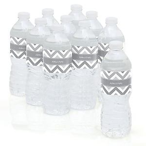 Chevron Gray - Personalized Party Water Bottle Sticker Labels - Set of 10