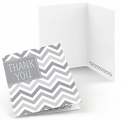 Chevron Gray - Bridal Shower Thank You Cards - 8 ct...