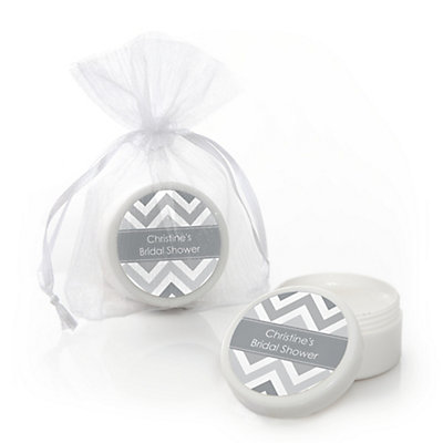 Chevron Gray - Personalized Bridal Shower Lip Balm Favors...