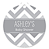 Chevron Gray - Round Personalized Everyday Party Tags - 20 ct