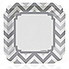 Chevron Gray - Everyday Party Dinner Plates - 8 ct