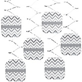 Gray Chevron - Baby Shower Hanging Decorations - 6 Count