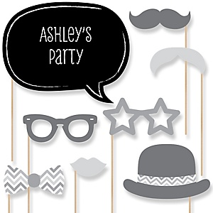 Gray Chevron - Baby Shower Photo Booth Props Kit - 20 Props