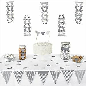 Chevron Gray - 72 Piece Triangle Party Decoration Kit