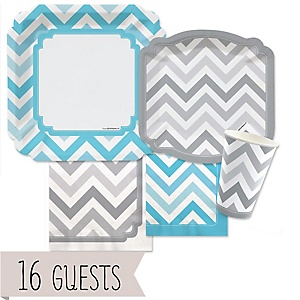 Chevron Blue and Gray - Baby Shower Tableware Bundle for 16 Guests