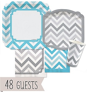 Chevron Blue and Gray - Baby Shower Tableware Bundle for 48 Guests