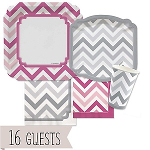 Chevron Pink and Gray - Baby Shower Tableware Bundle for 16 Guests