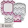 Chevron Pink and Gray - Everyday Party 32 Big Dot Bundle