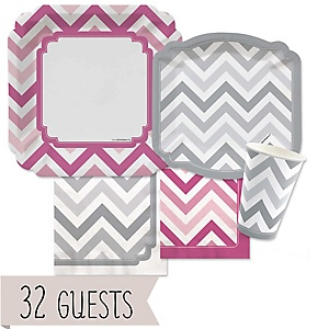 Chevron Pink and Gray - Baby Shower Tableware Bundle for 32 Guests