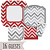 Chevron Red and Gray - Everyday Party 16 Big Dot Bundle