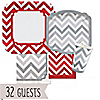 Chevron Red and Gray - Everyday Party 32 Big Dot Bundle
