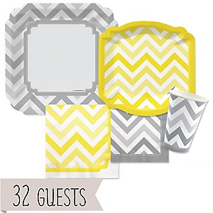 Chevron Yellow and Gray - Baby Shower Tableware Bundle for 32 Guests