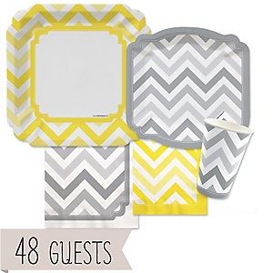 Chevron Yellow and Gray - Baby Shower Tableware Bundle for 48 Guests