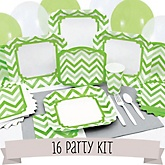Green Chevron - 16 Person Baby Shower Kit