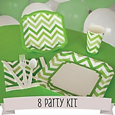 Green Chevron - 8 Person Baby Shower Kit
