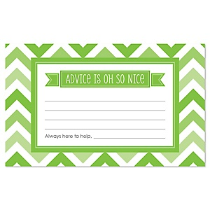 Green Chevron - Baby Shower Helpful Hint Advice Cards Game - 18 Count