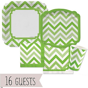 Green Chevron - Baby Shower Tableware Bundle for 16 Guests