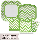 Green Chevron - Baby Shower Tableware Bundle for 32 Guests