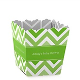 Green Chevron - Personalized Baby Shower Candy Boxes