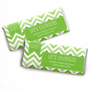 Chevron Green - Personalized Baby Shower Candy Bar Wrapper Favors
