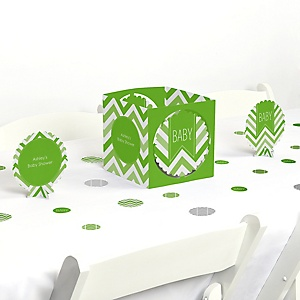 Chevron Green - Baby Shower Centerpiece & Table Decoration Kit