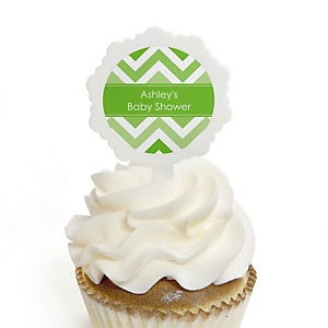 Green Chevron - 12 Cupcake Picks & 24 Personalized Stickers - Baby Shower Cupcake Toppers