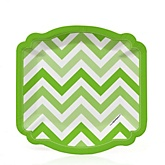 Green Chevron - Baby Shower Dessert Plates - 8 Pack