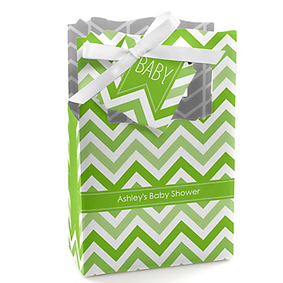 Green Chevron - Personalized Baby Shower Favor Boxes...