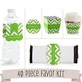 Green Chevron - Do It Yourself 40 Piece Personalized Party Kit