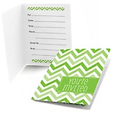 Chevron Green - Baby Shower Fill In Invitations - 8 ct