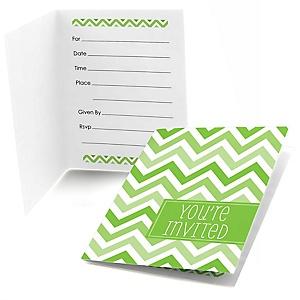 Chevron Green - Baby Shower Fill In Invitations - 8 ct