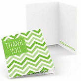 Green Chevron - Baby Shower Thank You Cards - Set of  8