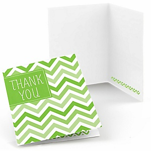 Chevron Green - Baby Shower Thank You Cards - 8 ct