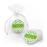 Green Chevron - Lip Balm Personalized Baby Shower Favors